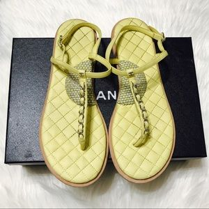 {CHANEL} Yellow Flat Chain Sandals Size 40EUR